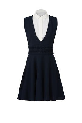 Navy and White Collared Dress by The Kooples