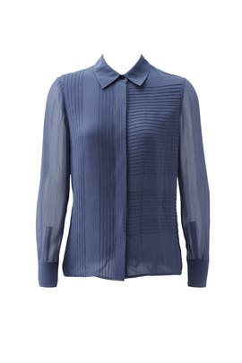 Blue Pintuck Button Down by Tory Burch