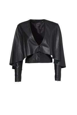Black Leather Cape Jacket by Asilio