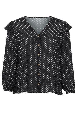 Polka Dot Ruffle Sleeve Blouse by Draper James X ELOQUII