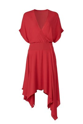 Red Kimono Faux Wrap Dress by Halston Heritage