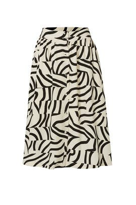 Black Stripe Layer Print Skirt by J.O.A.