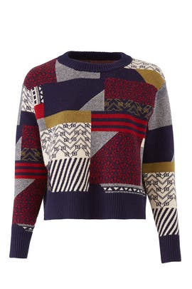 Navy Patchwork Sweater by Slate & Willow