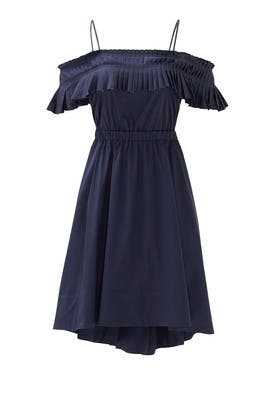 Navy Satin Poplin Ruffle Dress by Tibi