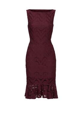 Wine Ruffle Lace Dress by twenty