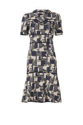 Camo Drop Waist Dress by Yigal Azrouël