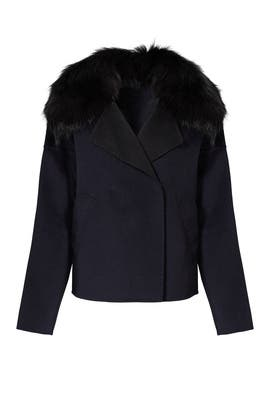 Navy Fur Collar Short Coat by 10 CROSBY DEREK LAM