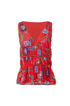 Red Floral Lucy Top by Rebecca Minkoff