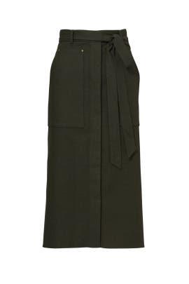 Green Owen Twill A-Line Skirt  by Tibi