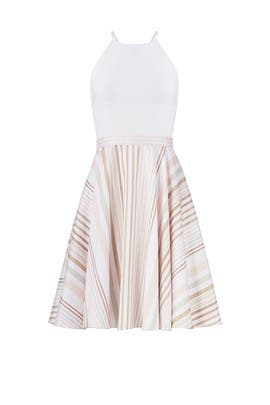 White Neutral Stripe Halter Dress by Badgley Mischka