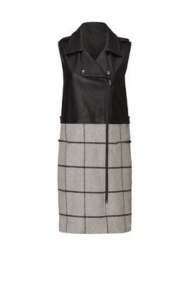 Black Plaid Moto Vest by Greylin