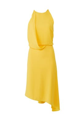 Yellow Draped Dress by Halston Heritage