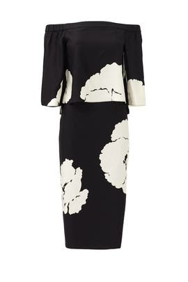 Amara Print Off The Shoulder Dress by Tibi