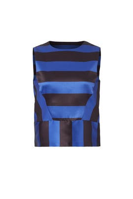 Blue Contrast Stripe Top by English Factory