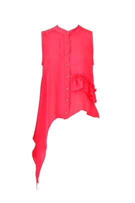 Coral Button Up Blouse by Nicole Miller