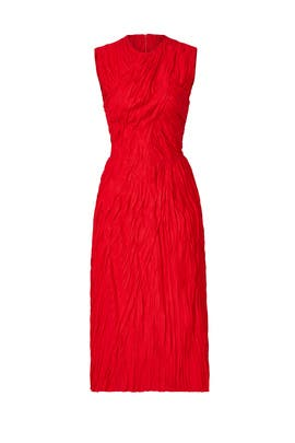 Red Ruched Marisa Dress by Nina Ricci