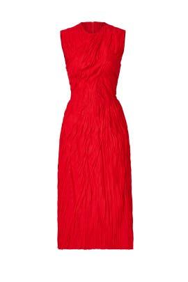 Red Ruched Marisa Dress by Nina Ricci