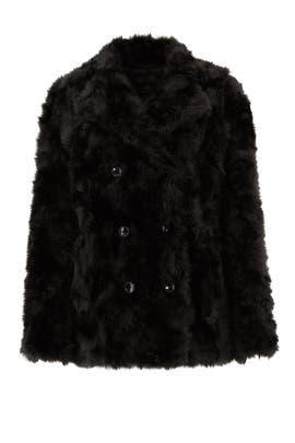 Black Faux Fur Monochrome Coat by The Kooples