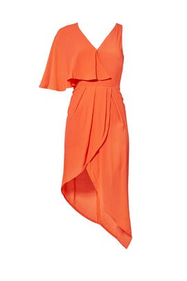 Coral Asymmetrical Wrap Dress by ELLIATT