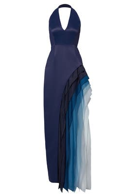Royal Blue Waterfall Cascade Gown by Halston Heritage