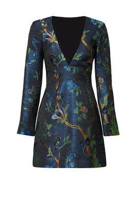 Blue Branches Jacquard Sheath by Nicole Miller