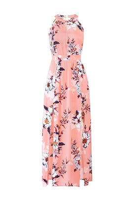 Pink Floral Printed Maxi by Fleurtine