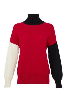 Turtleneck Colorblock Sweater by Fuzzi