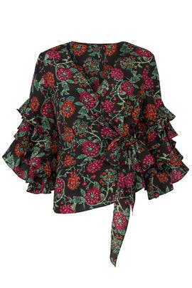 Floral Ruffle Wrap Top by LIKELY