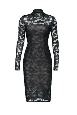 Metallic Floral Lace Sheath by ML Monique Lhuillier