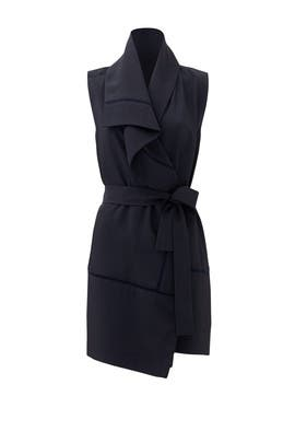 Navy Blue Asymmetric Frayed Trim Vest by VINCE.