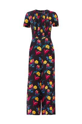 Black Floral Wide Leg Jumpsuit by Diane von Furstenberg
