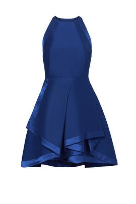 Halston Heritage Navy Ribbon Tier Dress