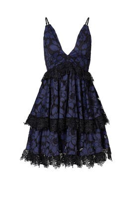 Navy Tiered Lace Dress by KENDALL + KYLIE