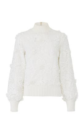 White Lace Sweater by Badgley Mischka