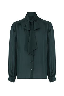 Green Tie Neck Shirt by Joie
