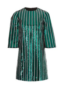 Green Stripe Sequin Sheath by Badgley Mischka