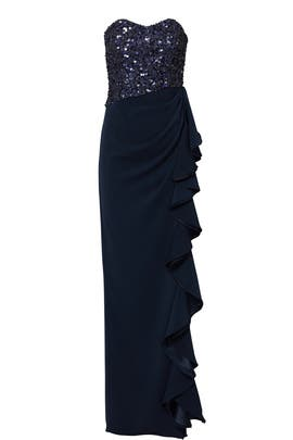Blue Sequin Ruffle Gown by Badgley Mischka
