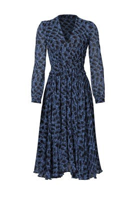 Blue Graphic Printed Midi Dress by DEREK LAM