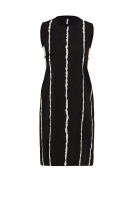 White Stripe Cut Shift Dress by 10 CROSBY DEREK LAM