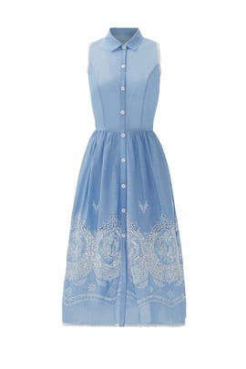 Blue Santeria Eyelet Shirtdress by Yoana Baraschi