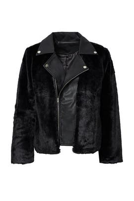 Black Faux Fur Leather Jacket by Endless Rose