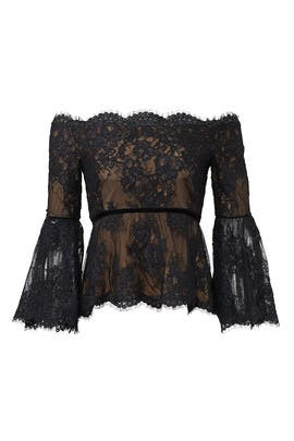 Scalloped Lace Top by Marchesa Notte