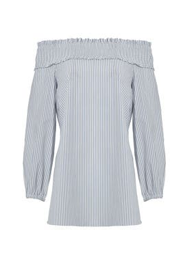 Samuel Stripe Off Shoulder Smocked Top by Tibi