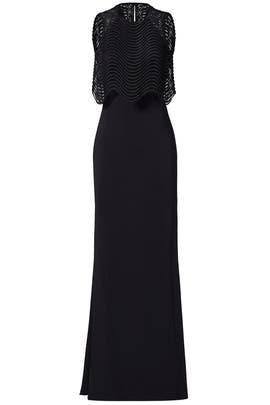 Black Jennifer Wave Popover Gown by Badgley Mischka