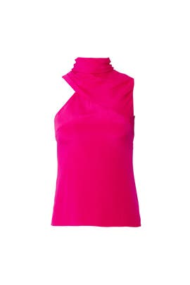 Pink Draped Neck Top by Cushnie Et Ochs