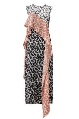 Pink Printed Ruffle Midi Dress by Diane von Furstenberg
