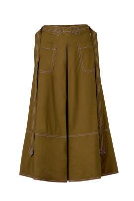 Olive Taffeta Midi Skirt by Marni