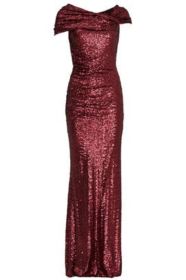 Bordeaux Samantha Gown by Badgley Mischka