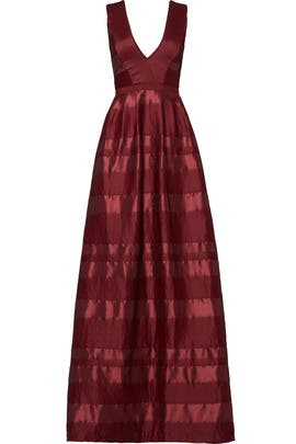 Bordeaux Satin Stripe Gown by ML Monique Lhuillier