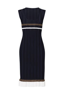 Navy Ribbed Ruffle Dress by Nina Ricci